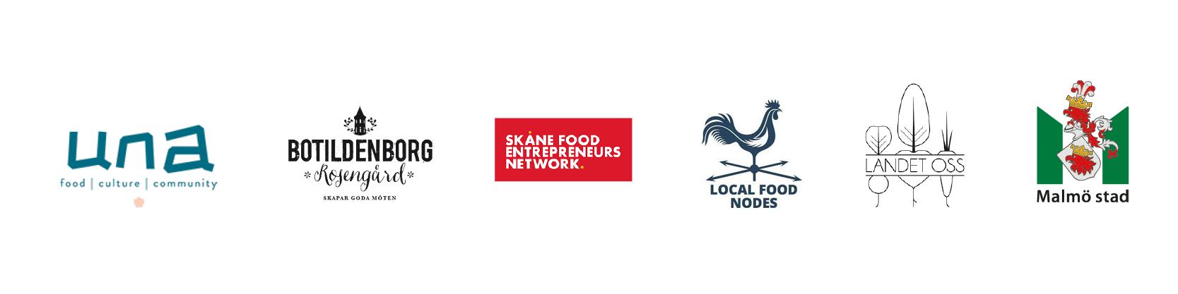 Logotyper partners: Una, Botildenborg, Skåne Food Entrepreneurs Network, Local Food Nodes, Landet oss och Malmö stad.