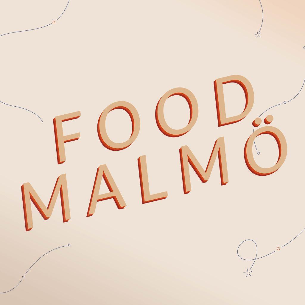 """Food Malmös logotyp. Beige bakgrund med """"Food Malmö"""" skrivet i stora bokstäver,"""
