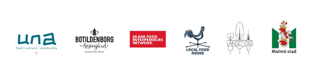 logotyper: UNA, Botildenborg, Skåne Food entrepreneurs network, Local food nodes, Landet oss och Malmö stad.